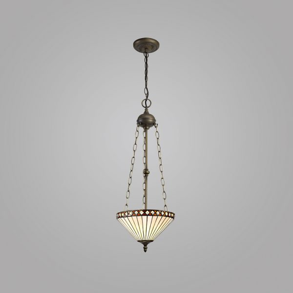 Lichfield Lighting Thistley 3 Light Uplighter Pendant E27 With 30cm Tiffany Shade, Amber/Credlock/Crystal/Aged Antique Brass photo 2