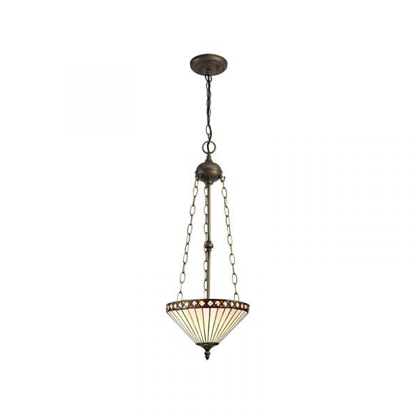 Lichfield Lighting Thistley 3 Light Uplighter Pendant E27 With 30cm Tiffany Shade, Amber/Credlock/Crystal/Aged Antique Brass photo 1