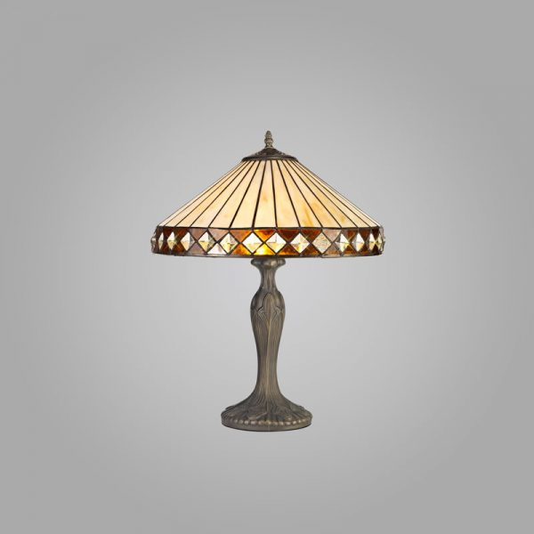 Lichfield Lighting Thistley 2 Light Curved Table Lamp E27 With 40cm Tiffany Shade, Amber/Credlock/Crystal/Aged Antique Brass photo 2