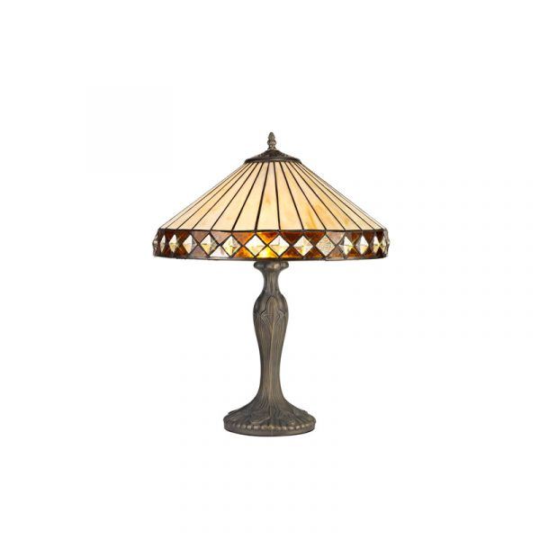 Lichfield Lighting Thistley 2 Light Curved Table Lamp E27 With 40cm Tiffany Shade, Amber/Credlock/Crystal/Aged Antique Brass photo 1
