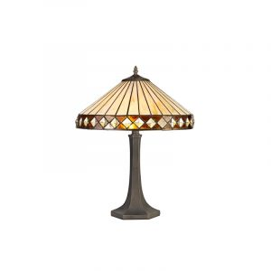 Lichfield Lighting Thistley 2 Light Octagonal Table Lamp E27 With 40cm Tiffany Shade, Amber/Credlock/Crystal/Aged Antique Brass photo 1