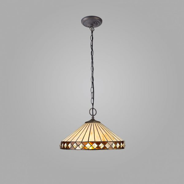 Lichfield Lighting Thistley 2 Light Downlighter Pendant E27 With 40cm Tiffany Shade, Amber/Credlock/Crystal/Aged Antique Brass photo 2