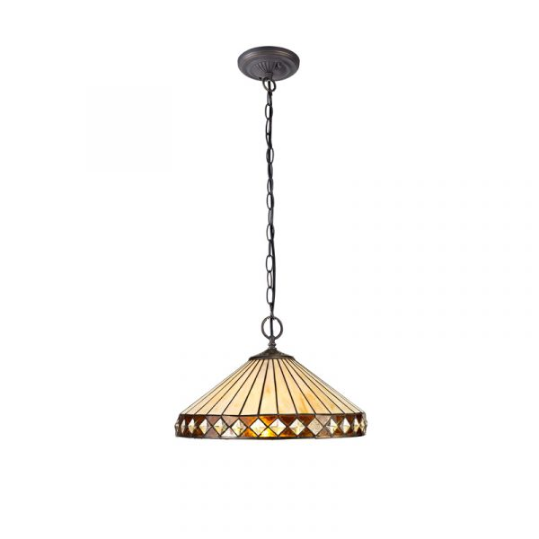 Lichfield Lighting Thistley 2 Light Downlighter Pendant E27 With 40cm Tiffany Shade, Amber/Credlock/Crystal/Aged Antique Brass photo 1