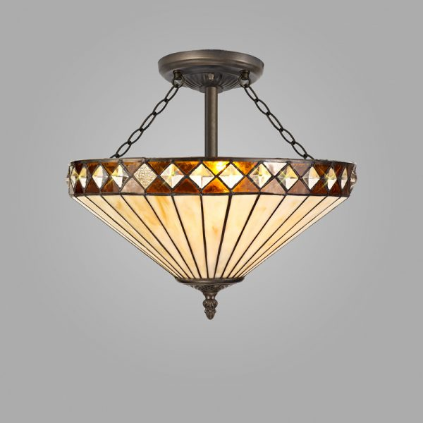 Lichfield Lighting Thistley 3 Light Semi Ceiling E27 With 40cm Tiffany Shade, Amber/Credlock/Crystal/Aged Antique Brass photo 2