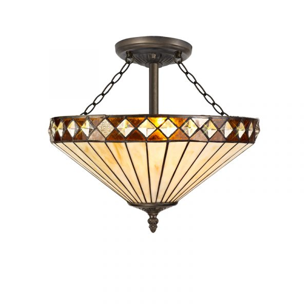 Lichfield Lighting Thistley 3 Light Semi Ceiling E27 With 40cm Tiffany Shade, Amber/Credlock/Crystal/Aged Antique Brass photo 1