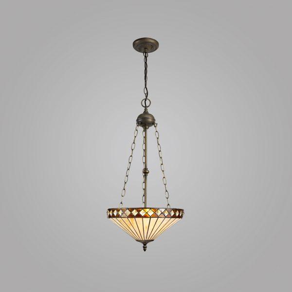 Lichfield Lighting Thistley 3 Light Uplighter Pendant E27 With 40cm Tiffany Shade, Amber/Credlock/Crystal/Aged Antique Brass photo 2