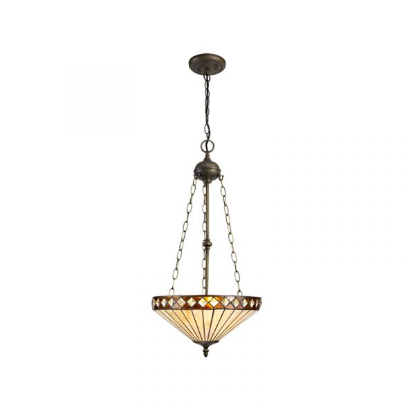 Lichfield Lighting Thistley 3 Light Uplighter Pendant E27 With 40cm Tiffany Shade, Amber/Credlock/Crystal/Aged Antique Brass photo 1