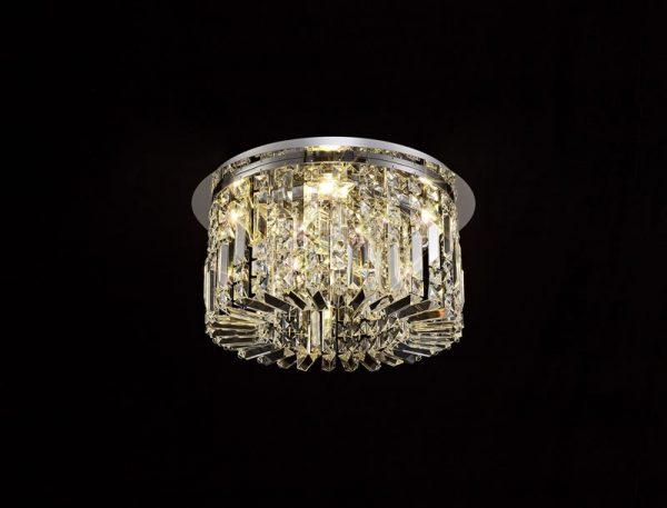 Lichfield Lighting Wharf 45cm Round Flush Chandelier, 5 Light E14, Polished Chrome/Crystal photo 4