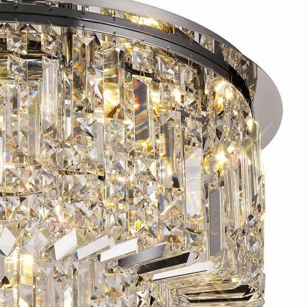 Lichfield Lighting Wharf 65cm Round Flush Chandelier, 8 Light E14, Polished Chrome/Crystal photo 2
