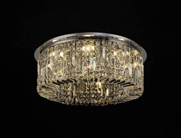 Lichfield Lighting Wharf 65cm Round Flush Chandelier, 8 Light E14, Polished Chrome/Crystal photo 4