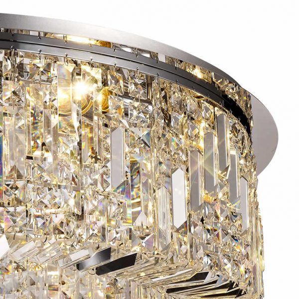 Lichfield Lighting Wharf 85cm Round Flush Chandelier, 12 Light E14, Polished Chrome/Crystal photo 2