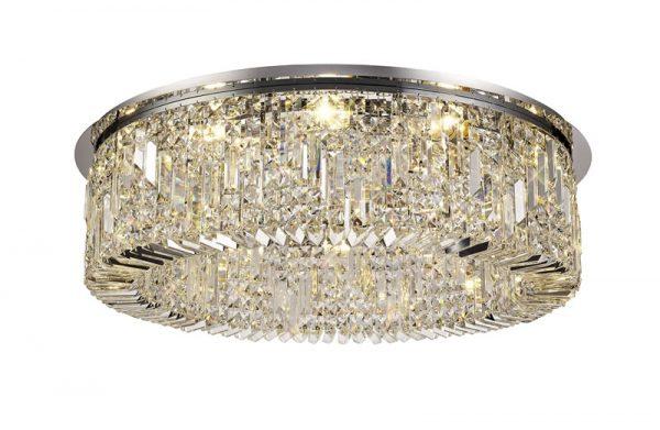 Lichfield Lighting Wharf 85cm Round Flush Chandelier, 12 Light E14, Polished Chrome/Crystal photo 1