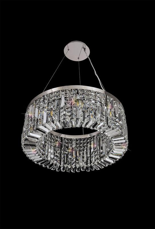 Lichfield Lighting Wharf 60cm Round Pendant Chandelier, 8 Light E14, Polished Chrome/Crystal photo 4