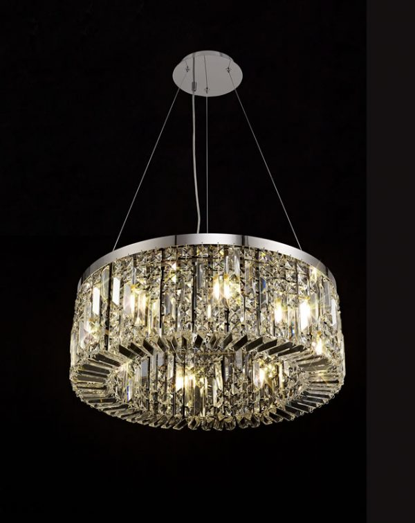 Lichfield Lighting Wharf 60cm Round Pendant Chandelier, 8 Light E14, Polished Chrome/Crystal photo 3