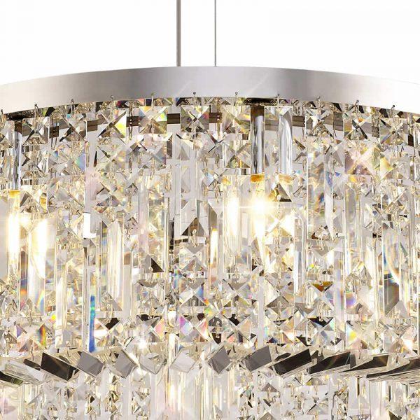 Lichfield Lighting Wharf 60cm Round Pendant Chandelier, 8 Light E14, Polished Chrome/Crystal photo 2