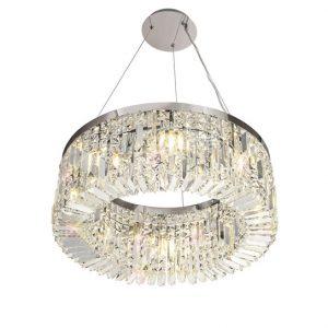 Lichfield Lighting Wharf 60cm Round Pendant Chandelier, 8 Light E14, Polished Chrome/Crystal photo 1