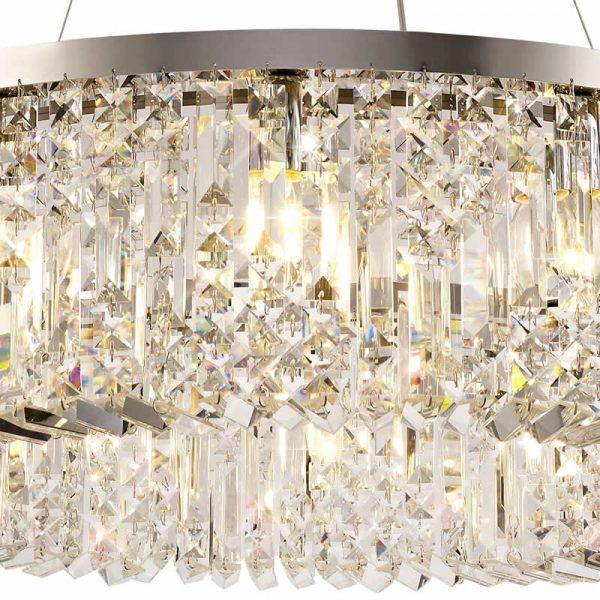 Lichfield Lighting Wharf 80cm Round Pendant Chandelier, 12 Light E14, Polished Chrome/Crystal photo 3