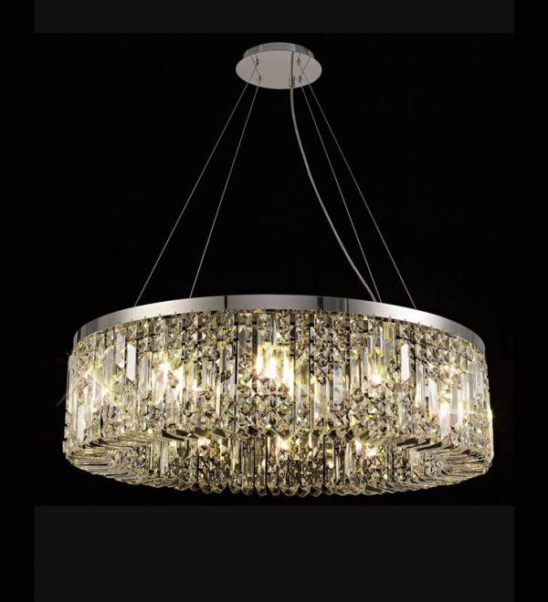 Lichfield Lighting Wharf 80cm Round Pendant Chandelier, 12 Light E14, Polished Chrome/Crystal photo 2