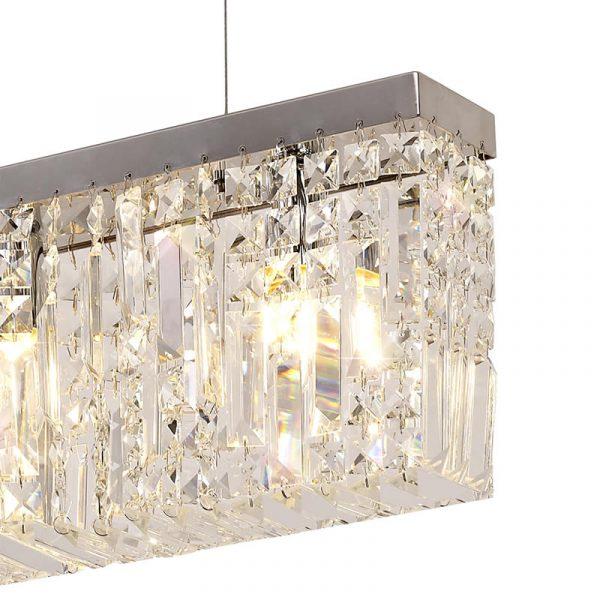 Lichfield Lighting Wharf 102x9cm Linear Pendant Chandelier, 5 Light E14, Polished Chrome/Crystal photo 3
