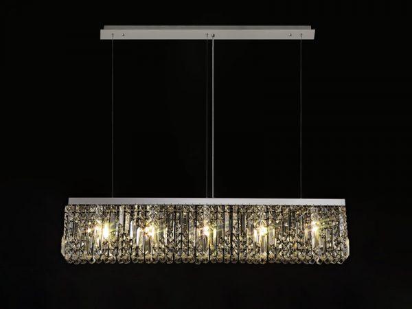 Lichfield Lighting Wharf 102x9cm Linear Pendant Chandelier, 5 Light E14, Polished Chrome/Crystal photo 4
