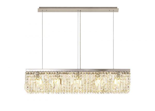 Lichfield Lighting Wharf 102x9cm Linear Pendant Chandelier, 5 Light E14, Polished Chrome/Crystal photo 1