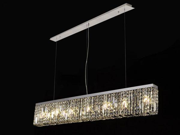 Lichfield Lighting Wharf 138x9cm Linear Pendant Chandelier, 7 Light E14, Polished Chrome/Crystal photo 4