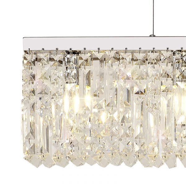 Lichfield Lighting Wharf 138x9cm Linear Pendant Chandelier, 7 Light E14, Polished Chrome/Crystal photo 3