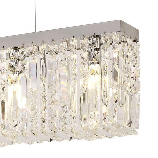 Lichfield Lighting Wharf 138x9cm Linear Pendant Chandelier, 7 Light E14, Polished Chrome/Crystal photo 2