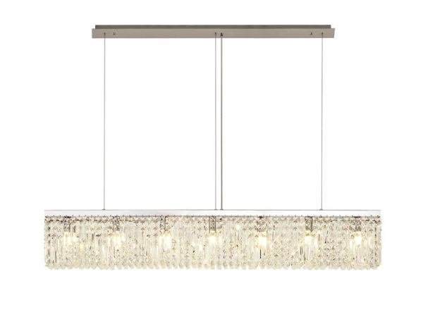Lichfield Lighting Wharf 138x9cm Linear Pendant Chandelier, 7 Light E14, Polished Chrome/Crystal photo 1