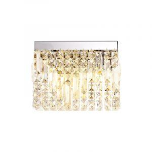 Lichfield Lighting Wharf 29x13cm Rectangular Small Wall Lamp, 2 Light E14, Polished Chrome/Crystal photo 1