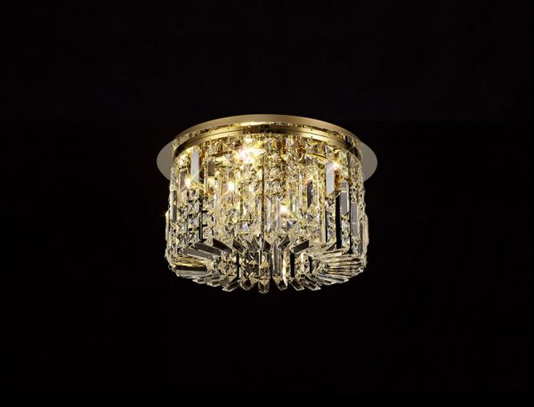 Lichfield Lighting Wharf 45cm Round Flush Chandelier, 5 Light E14, Gold/Crystal photo 3