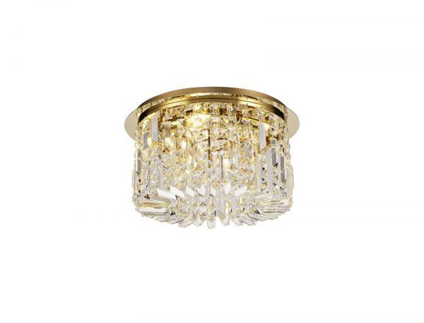 Lichfield Lighting Wharf 45cm Round Flush Chandelier, 5 Light E14, Gold/Crystal photo 1