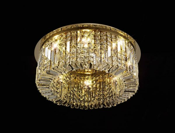 Lichfield Lighting Wharf 65cm Round Flush Chandelier, 8 Light E14, Gold/Crystal photo 4