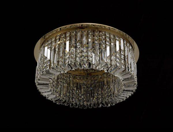 Lichfield Lighting Wharf 65cm Round Flush Chandelier, 8 Light E14, Gold/Crystal photo 3