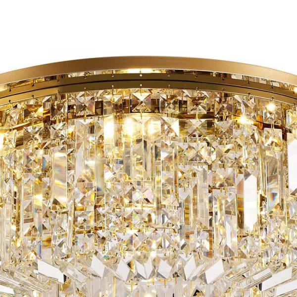 Lichfield Lighting Wharf 65cm Round Flush Chandelier, 8 Light E14, Gold/Crystal photo 2
