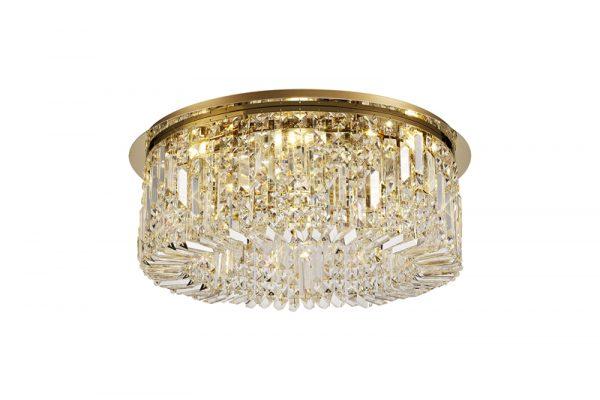 Lichfield Lighting Wharf 65cm Round Flush Chandelier, 8 Light E14, Gold/Crystal photo 1