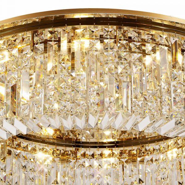 Lichfield Lighting Wharf 85cm Round Flush Chandelier, 12 Light E14, Gold/Crystal photo 3
