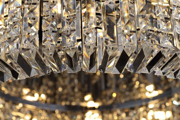 Lichfield Lighting Wharf 85cm Round Flush Chandelier, 12 Light E14, Gold/Crystal photo 2