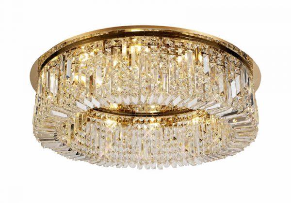 Lichfield Lighting Wharf 85cm Round Flush Chandelier, 12 Light E14, Gold/Crystal photo 1