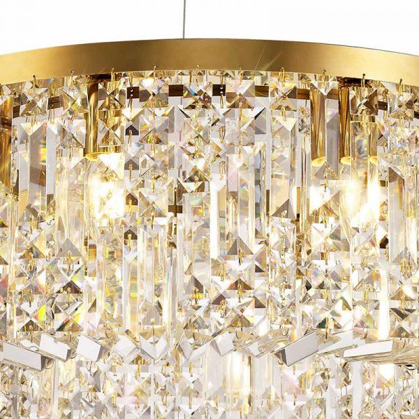 Lichfield Lighting Wharf 60cm Round Pendant Chandelier, 8 Light E14, Gold/Crystal photo 3