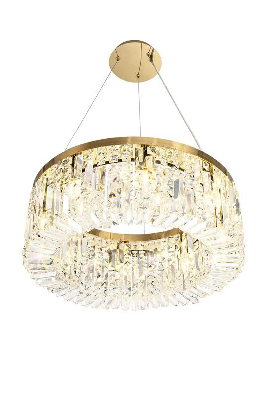 Lichfield Lighting Wharf 60cm Round Pendant Chandelier, 8 Light E14, Gold/Crystal photo 1