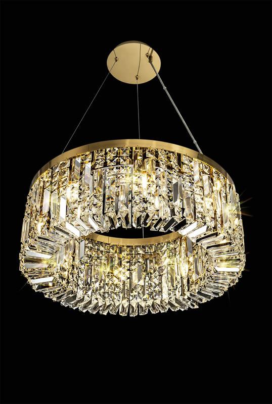 Lichfield Lighting Wharf 60cm Round Pendant Chandelier, 8 Light E14, Gold/Crystal photo 5