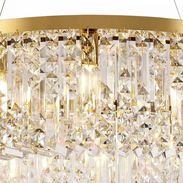 Lichfield Lighting Wharf 80cm Round Pendant Chandelier, 12 Light E14, Gold/Crystal photo 3