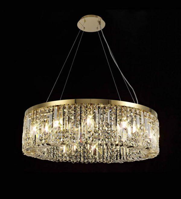 Lichfield Lighting Wharf 80cm Round Pendant Chandelier, 12 Light E14, Gold/Crystal photo 4