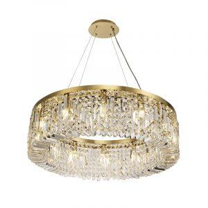 Lichfield Lighting Wharf 80cm Round Pendant Chandelier, 12 Light E14, Gold/Crystal photo 1
