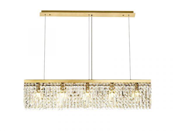 Lichfield Lighting Wharf 102x9cm Linear Pendant Chandelier, 5 Light E14, Gold/Crystal photo 1
