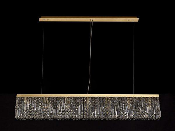 Lichfield Lighting Wharf 138x9cm Linear Pendant Chandelier, 7 Light E14, Gold/Crystal photo 3