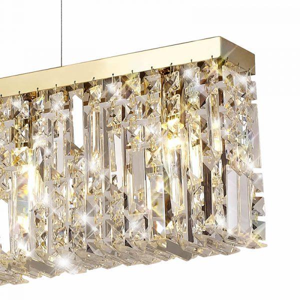 Lichfield Lighting Wharf 138x9cm Linear Pendant Chandelier, 7 Light E14, Gold/Crystal photo 2