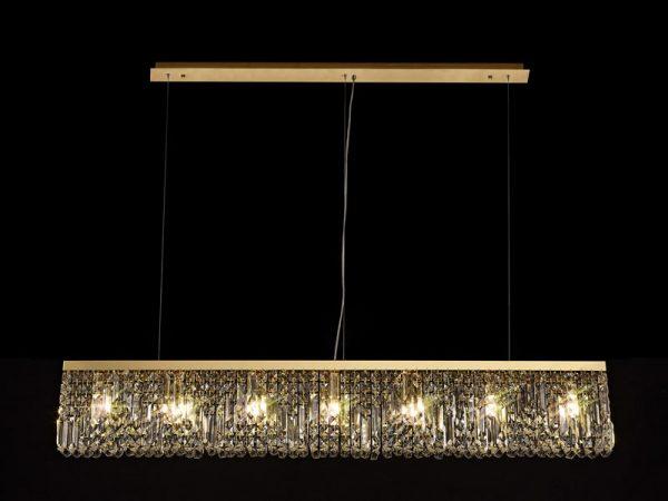 Lichfield Lighting Wharf 138x9cm Linear Pendant Chandelier, 7 Light E14, Gold/Crystal photo 4