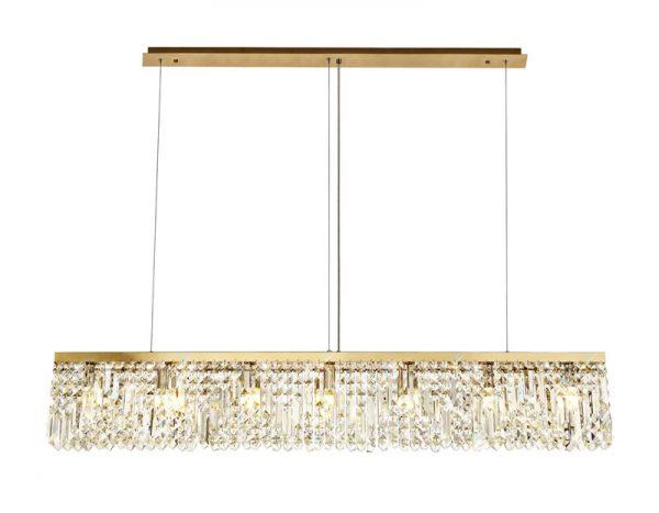 Lichfield Lighting Wharf 138x9cm Linear Pendant Chandelier, 7 Light E14, Gold/Crystal photo 1